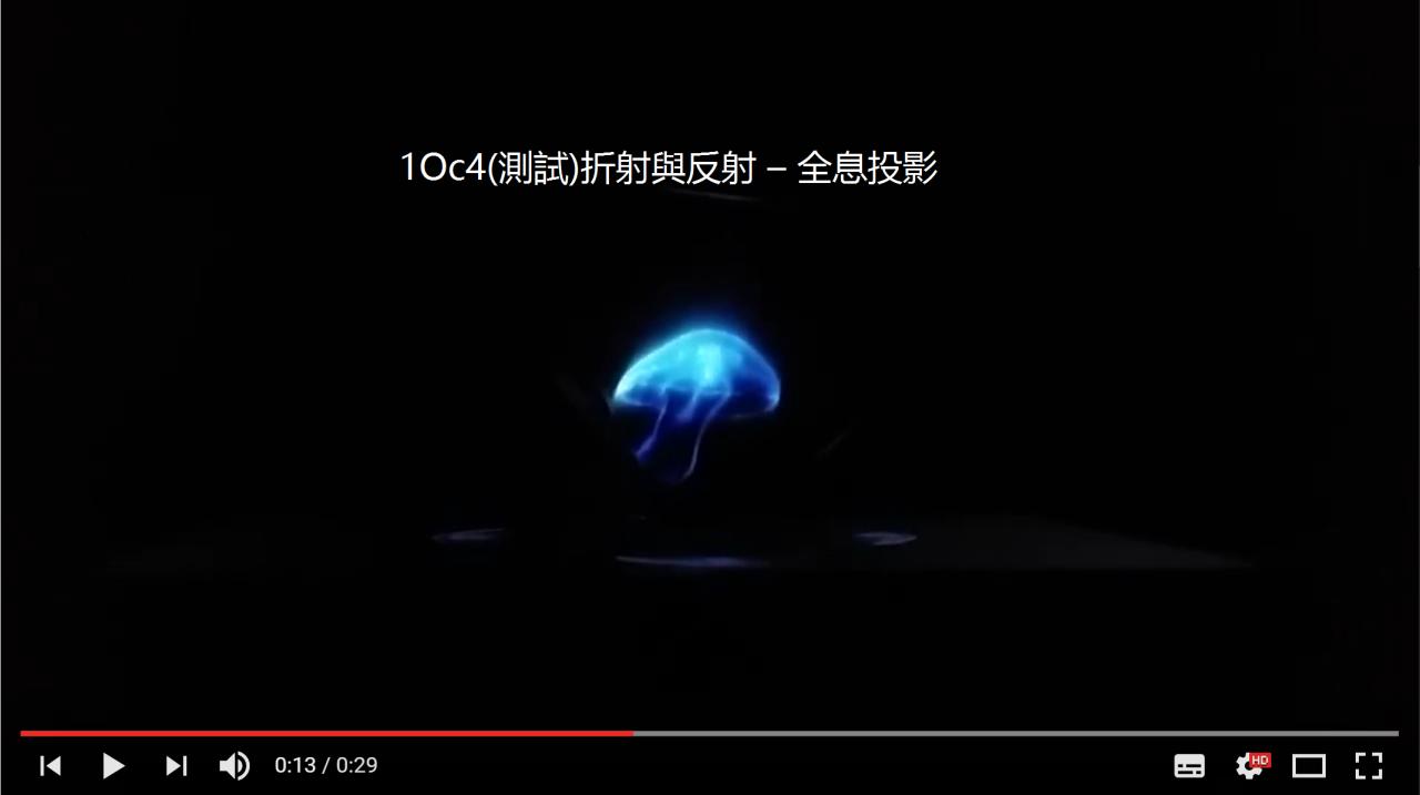 1Oc4(測試)折射與反射 – 全息投影